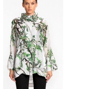 Luii Floral High Low Casual Coat Small Hooded